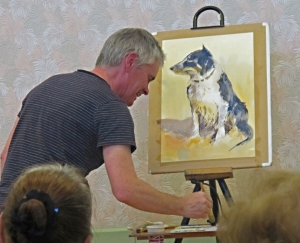 David Webb with demonstration painting